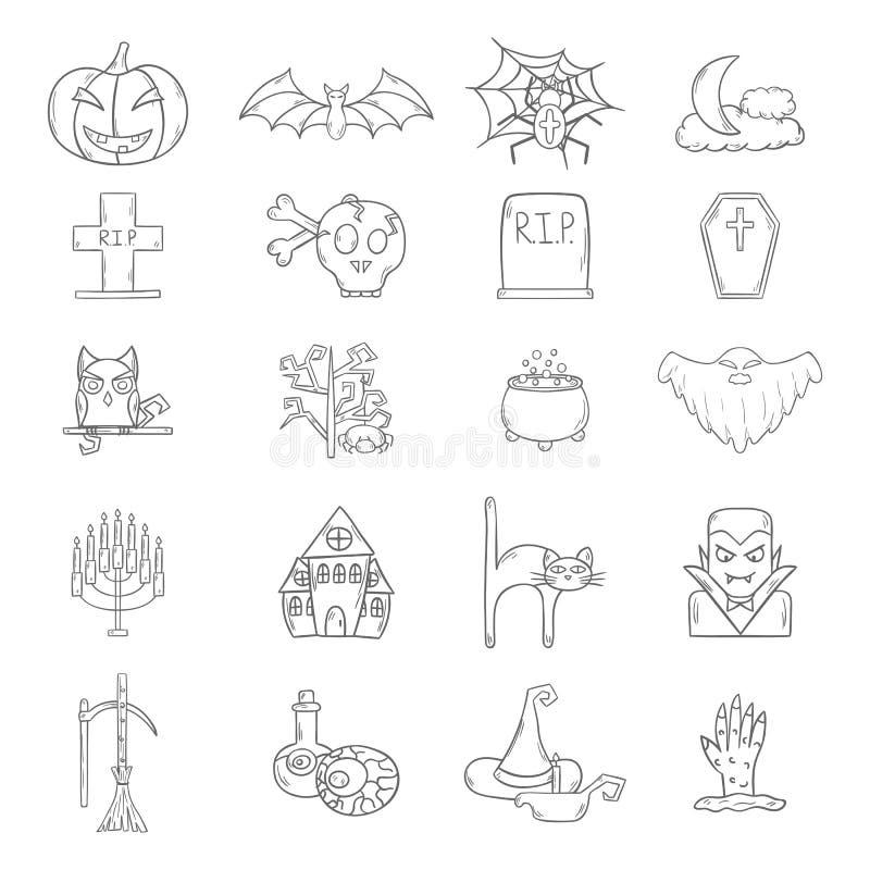 Download Symboler För Allhelgonaafton För Vektortecknad Film Hand Drog Vektor Illustrationer - Illustration av spöke, magi: 78731072