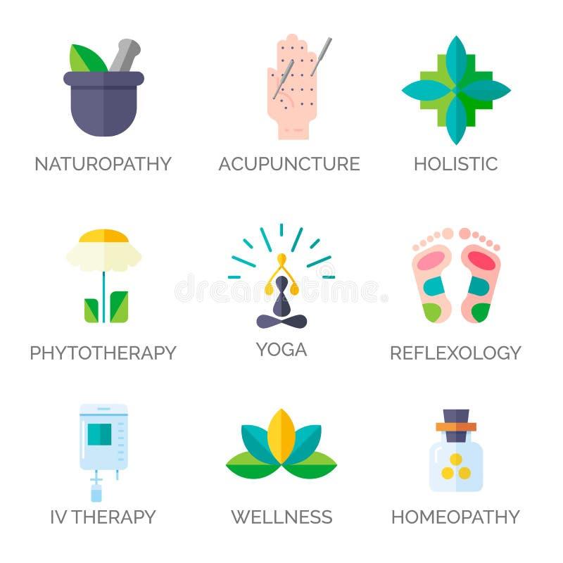 Symboler för alternativ medicin stock illustrationer