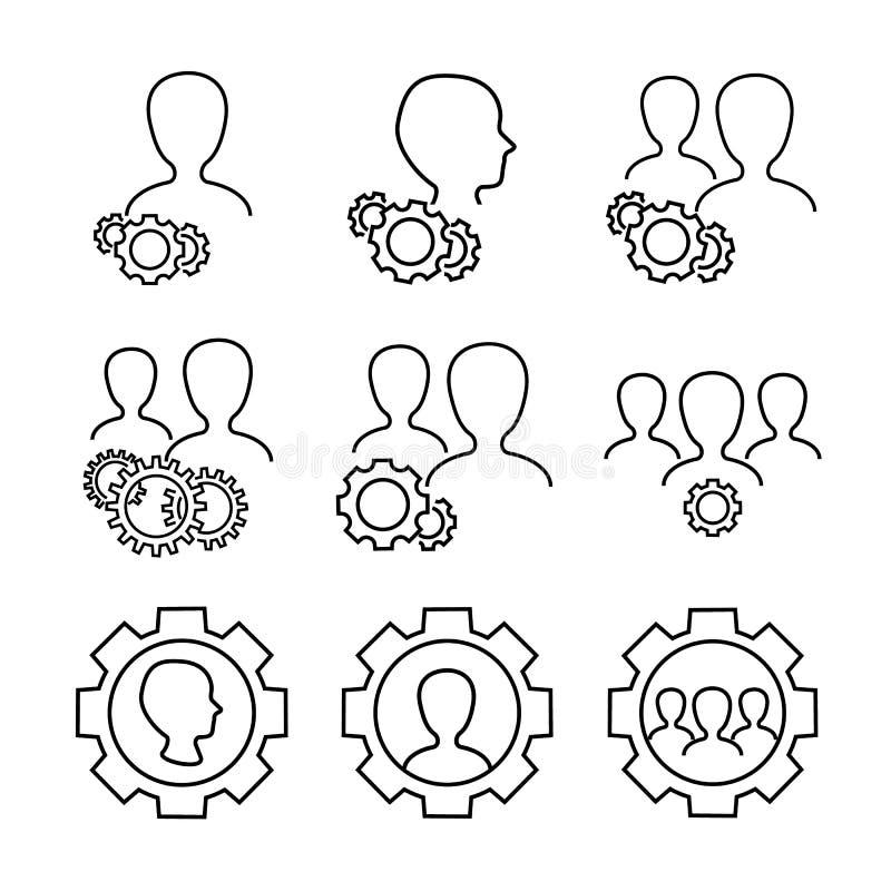 Symboler för användareinställningsvektor vektor illustrationer