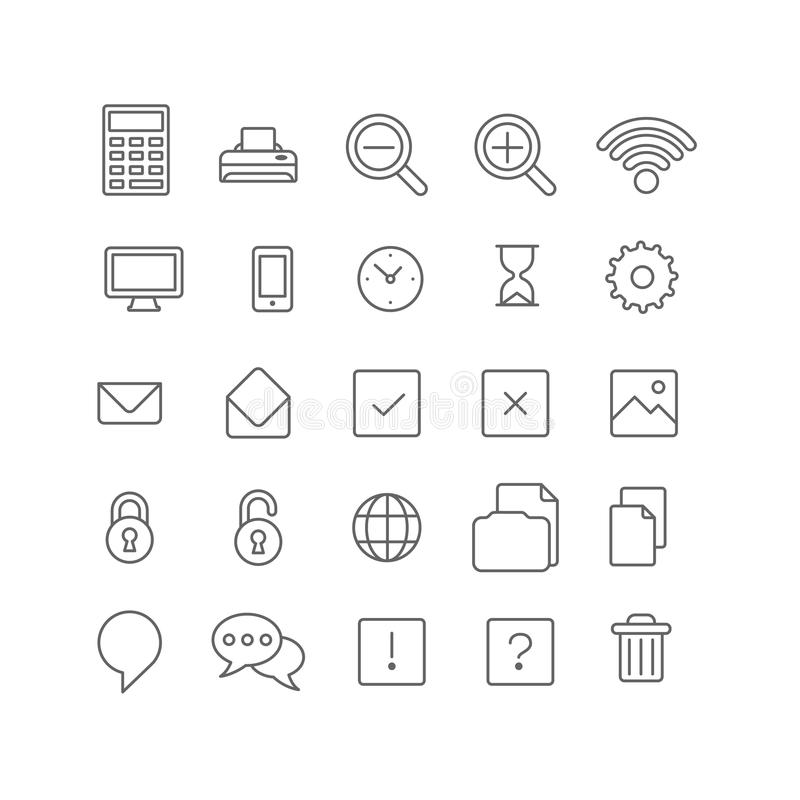 Symboler för app för manöverenhet för webbplats för Lineart vektorlägenhet mobila royaltyfri illustrationer