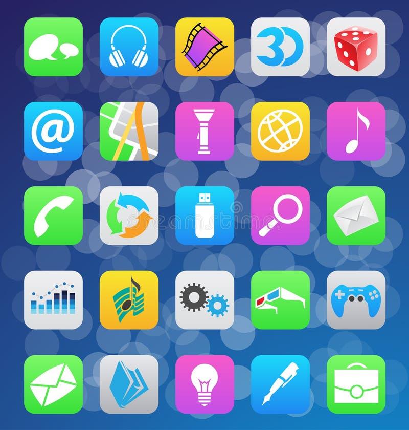 Symboler för app för stil för Ios 7 mobila royaltyfri illustrationer
