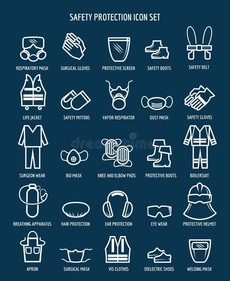 Symboler för arbetshälsa och för yrkes- säkerhet royaltyfri illustrationer