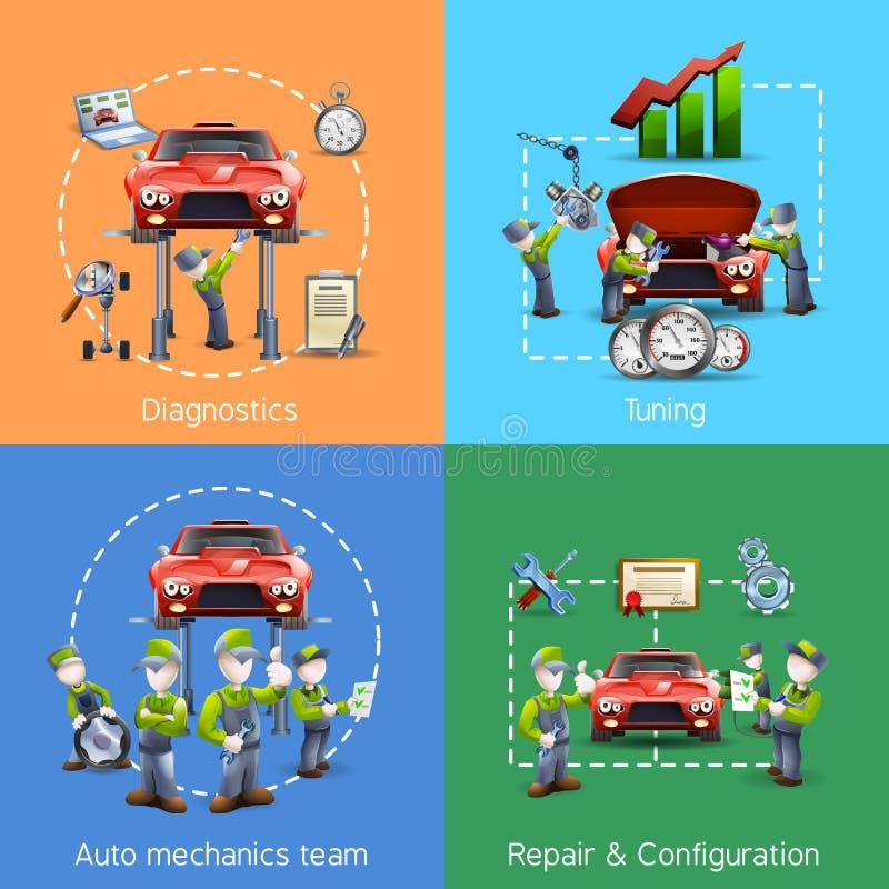 Symboler för auto mekaniker 4 kvadrerar banret vektor illustrationer