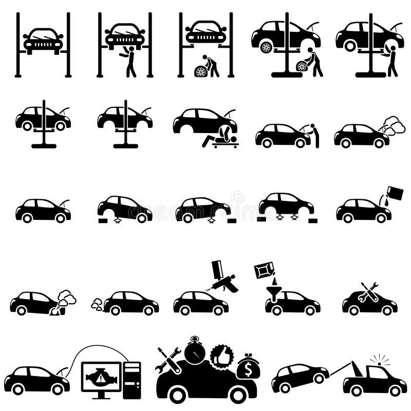Symboler för auto reparation vektor illustrationer