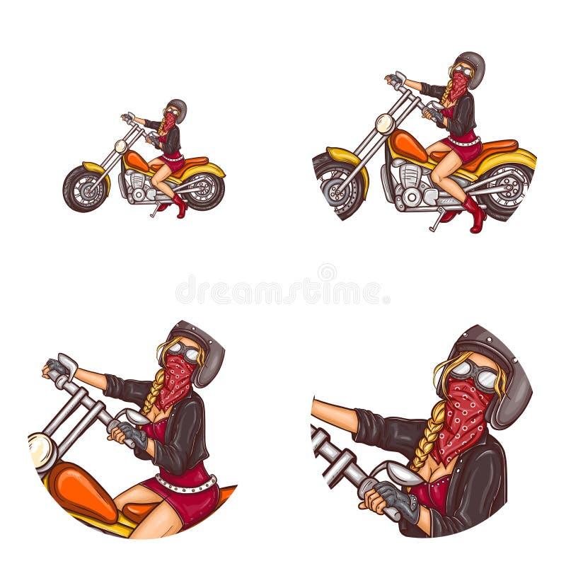 Symboler för avatar för konst för pop för flicka för vektorcyklist sexiga royaltyfri illustrationer