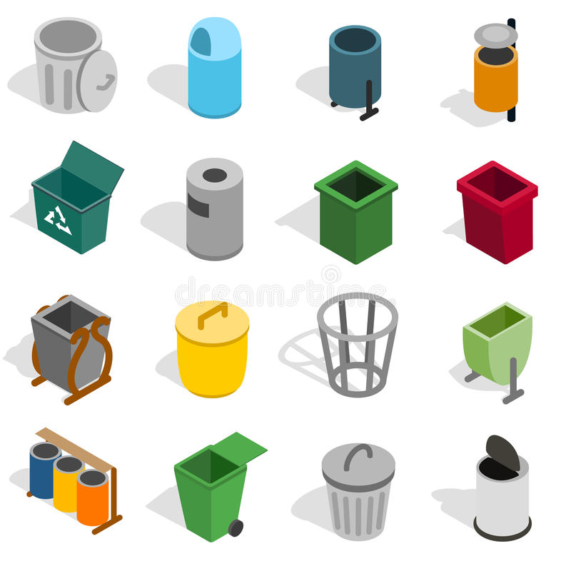 Symboler för avfallfack ställde in, isometrisk stil 3d vektor illustrationer