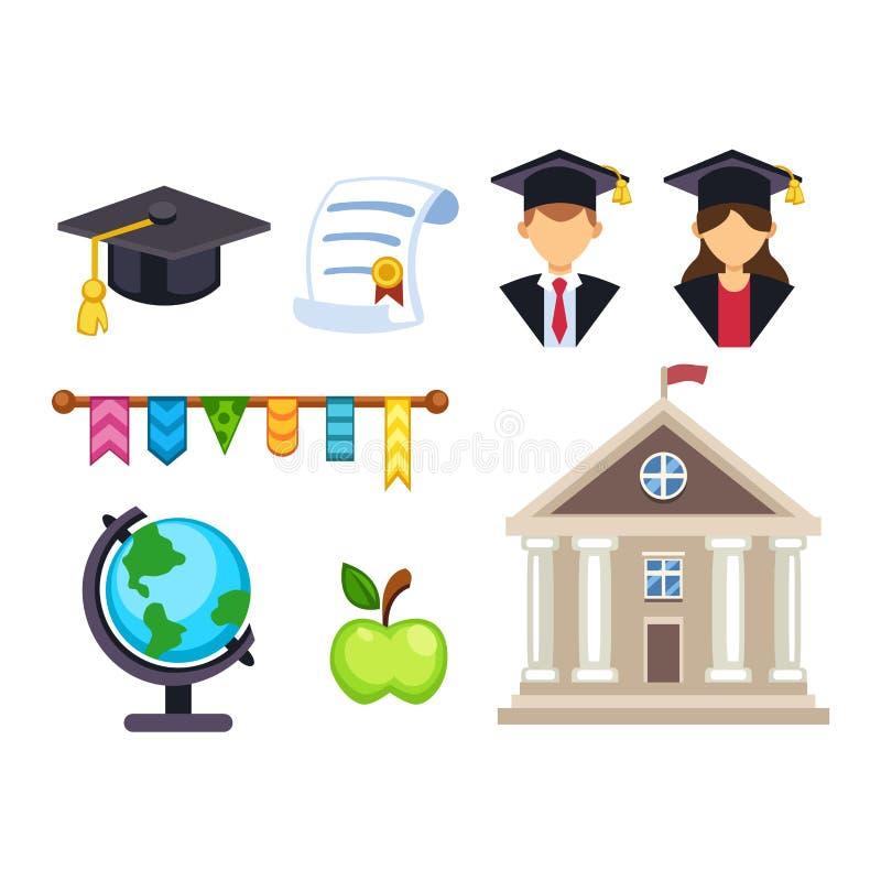 Symboler för avläggande av examenutbildningsvektor stock illustrationer