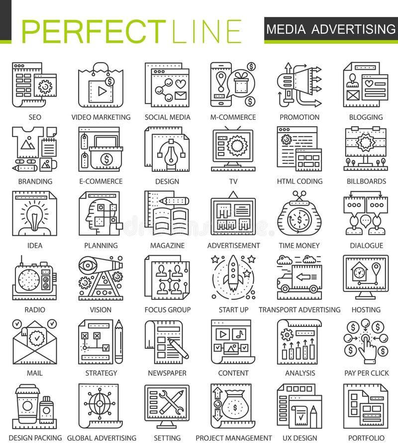 Symboler för begrepp för översikt för massmediaadvertizing mini- Stil för modern slaglängd för marknadsföringsannonseringbefordra stock illustrationer
