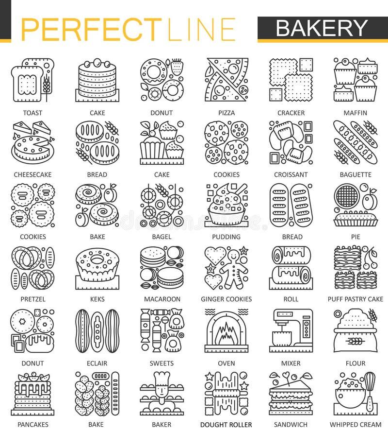 Symboler för begrepp för bageriöversikt mini- Illustrationer in för stil för modern slaglängd för bakelsemat ställde linjära Perf stock illustrationer