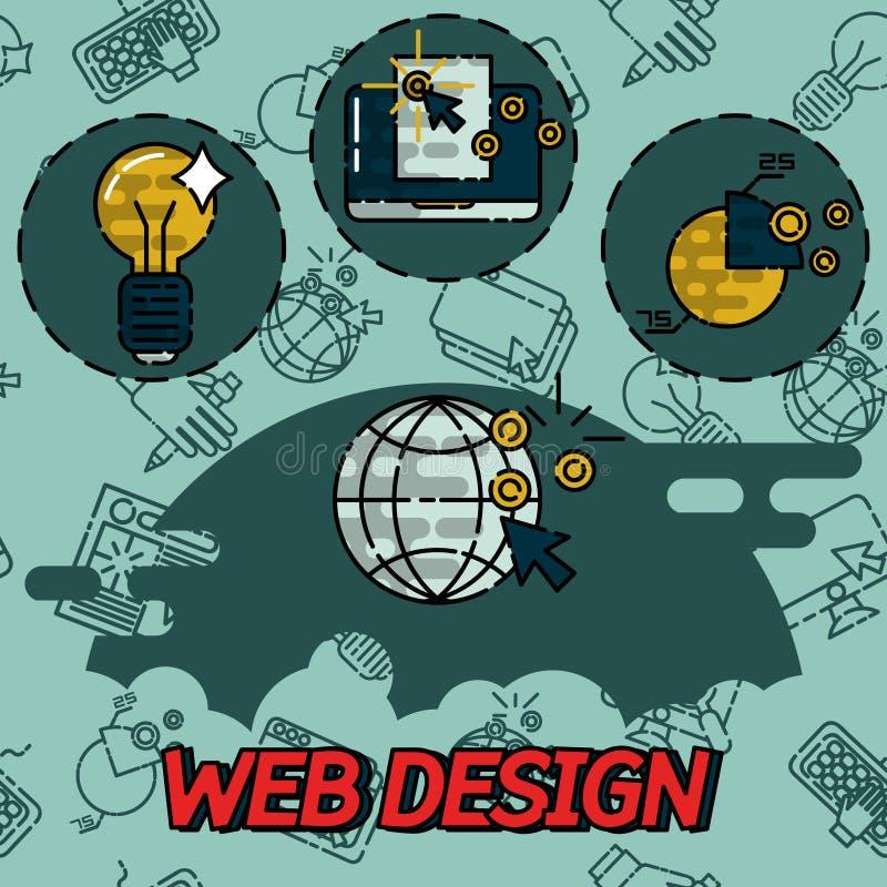 Symboler för begrepp för lägenhet för rengöringsdukdesign royaltyfri illustrationer