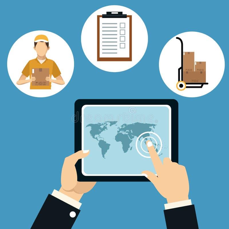 Symboler för begrepp för leverans för handhållminnestavla stock illustrationer