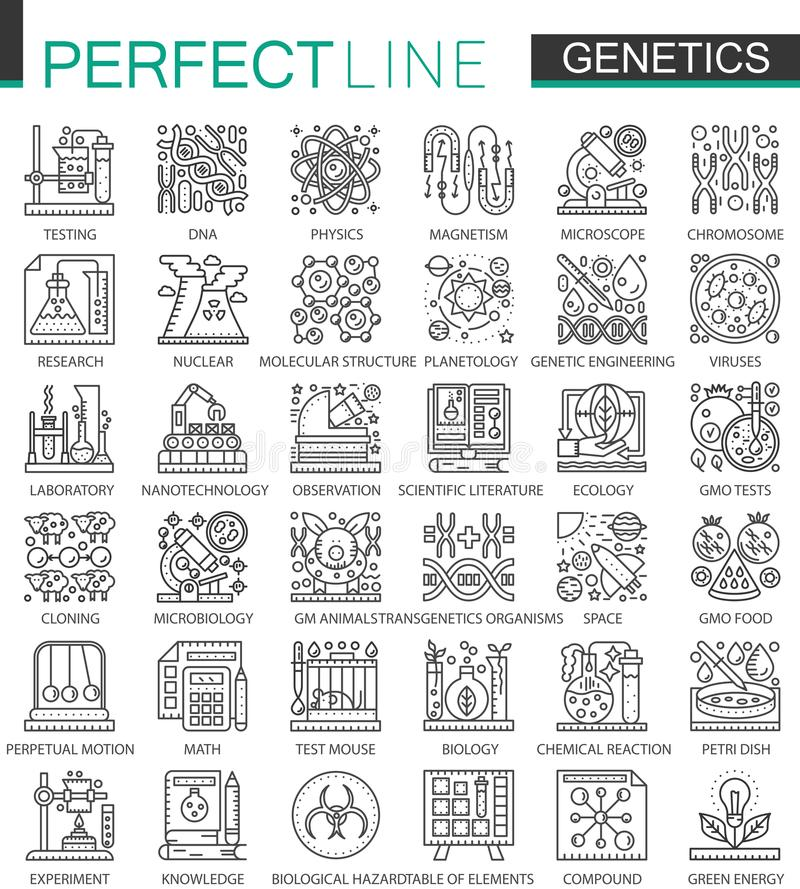 Symboler för begrepp för genteknik- och biokemiöversikt mini- För stilillustrationer för modern slaglängd linjär uppsättning perf stock illustrationer