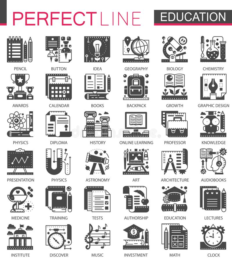 Symboler för begrepp för utbildningsklassikersvart mini- Illustrationer in för pictogram för symbol för för vektorskola eller uni stock illustrationer