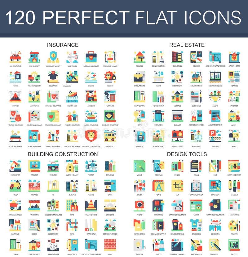 120 symboler för begrepp för symboler för vektorkomplexlägenhet av försäkring, fastighet, byggnadskonstruktion, designhjälpmedel  royaltyfri illustrationer
