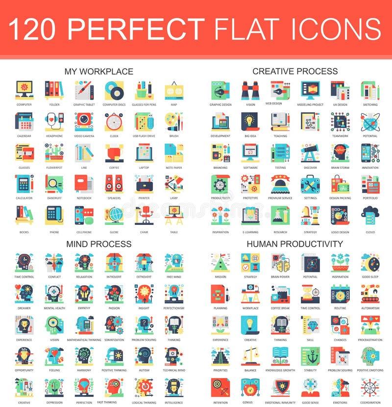 120 symboler för begrepp för symboler för vektorkomplexlägenhet av min arbetsplats, idérik process, meningsprocess, mänsklig prod stock illustrationer