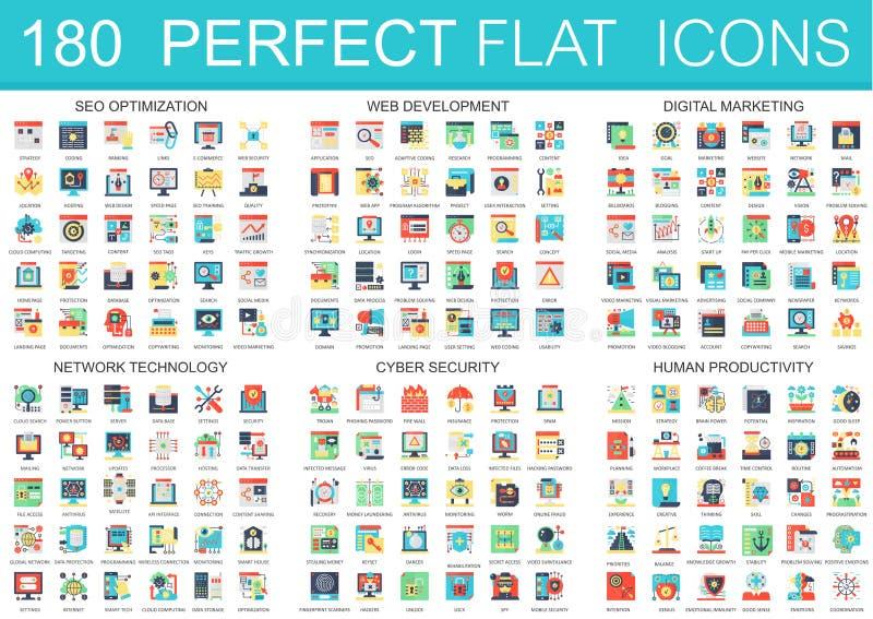180 symboler för begrepp för symboler för vektorkomplexlägenhet av seooptimization, rengöringsdukutveckling, digital marknadsföri royaltyfri illustrationer