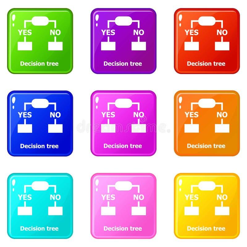 Symboler för beslutsträd ställde in samlingen för 9 färg stock illustrationer