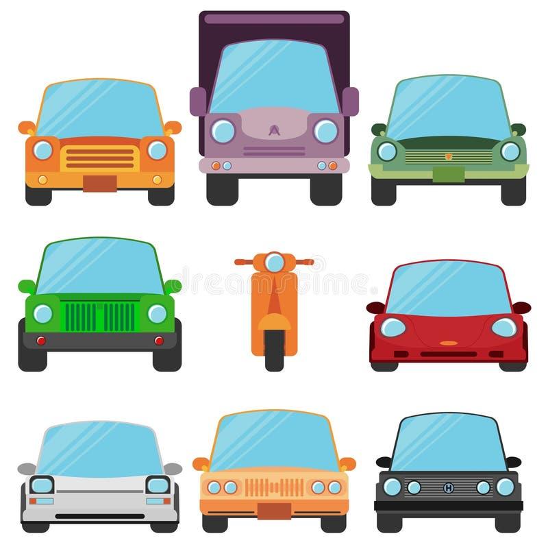 Symboler för bil för moderna plana designsymboler stilfulla Retro vektor illustrationer