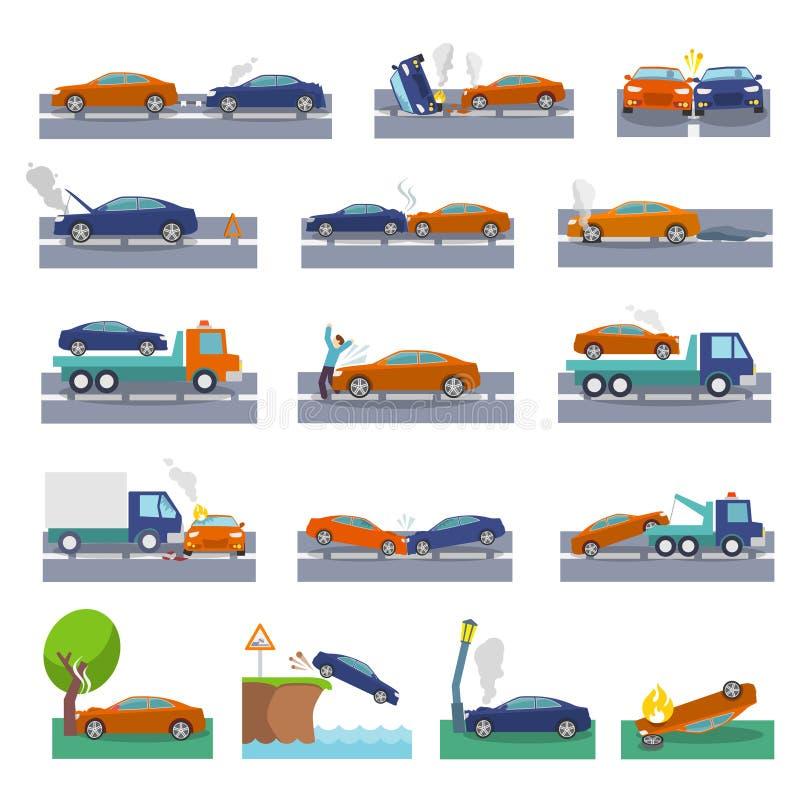 Symboler för bilkrasch royaltyfri illustrationer