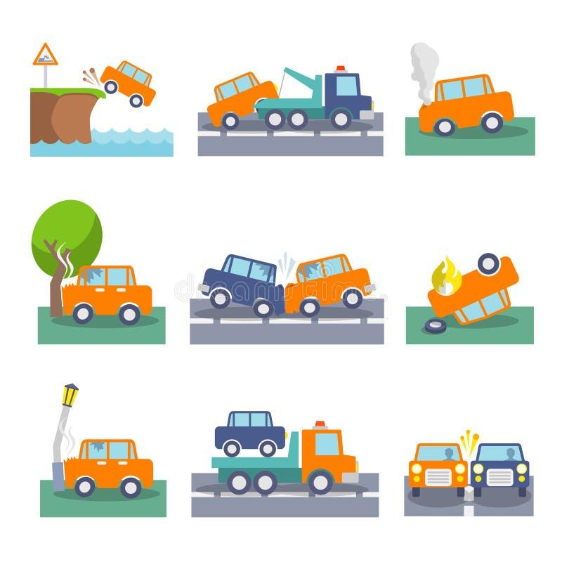 Symboler för bilkrasch vektor illustrationer