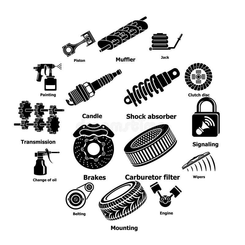 Symboler för bilreparationsdelar ställde in, enkel stil royaltyfri illustrationer