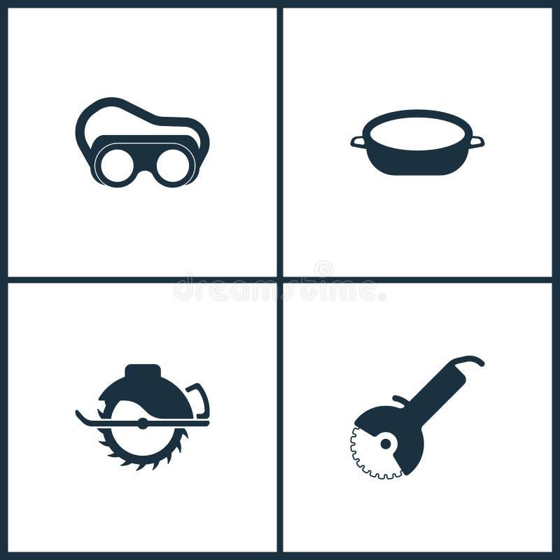 Symboler för bio för vektorillustrationuppsättning Beståndsdelar av den skyddande svetsande skyddsglasögon, bad- och sågsymbolen royaltyfri illustrationer