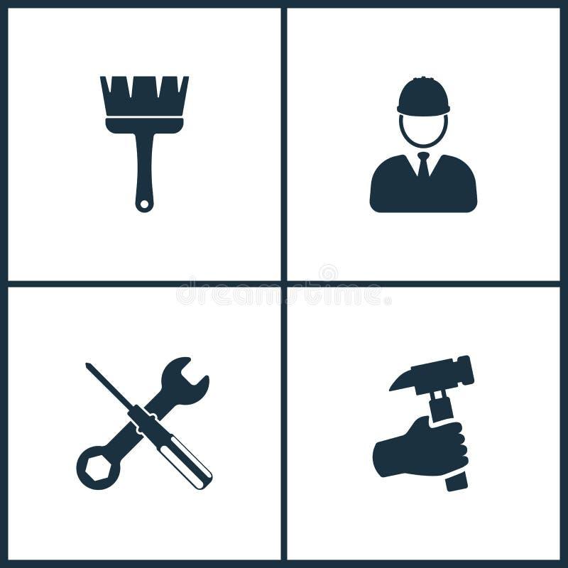 Symboler för bio för vektorillustrationuppsättning Beståndsdelar av det borste-, byggmästare-, skruvmejsel- och handinnehavet bul royaltyfri illustrationer