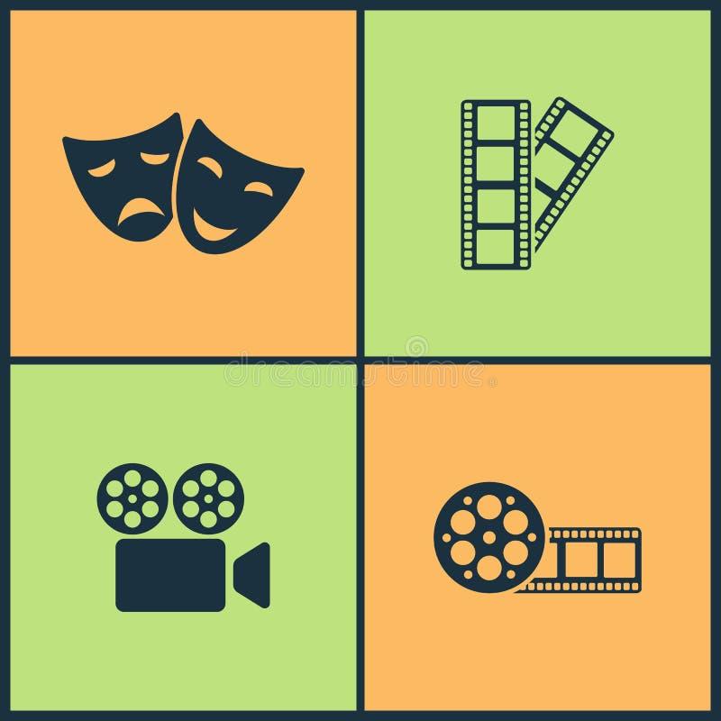Symboler för bio för vektorillustrationuppsättning Beståndsdelar av maskeringen, filmen, filmen och videoen filmar symbolen vektor illustrationer