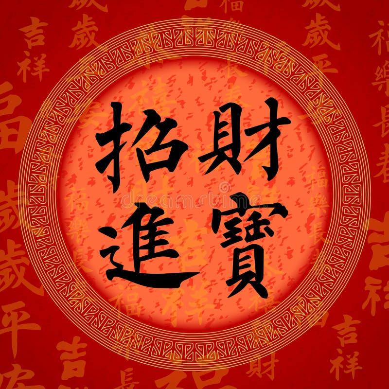 Symboler för bra lycka för kalligrafi kinesiska vektor illustrationer