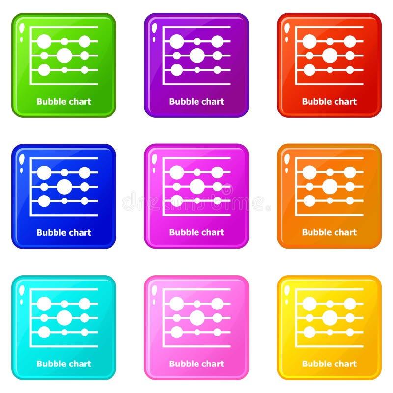 Symboler för bubbladiagram ställde in samlingen för 9 färg royaltyfri illustrationer