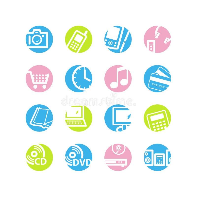 symboler för cirkel e shoppar fjädern vektor illustrationer