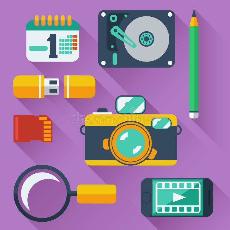 Symboler för datalagringsapparater vektor illustrationer