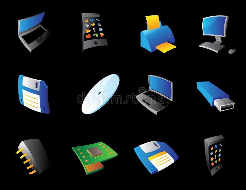 Symboler för dator och apparater vektor illustrationer