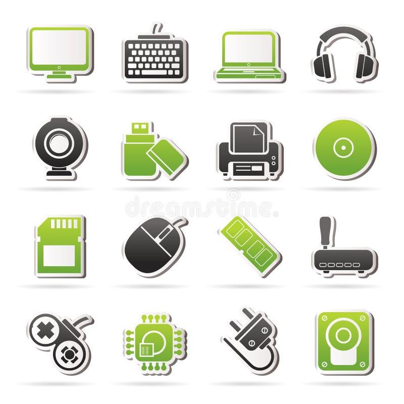 Symboler för datorkringutrustningar och tillbehör stock illustrationer