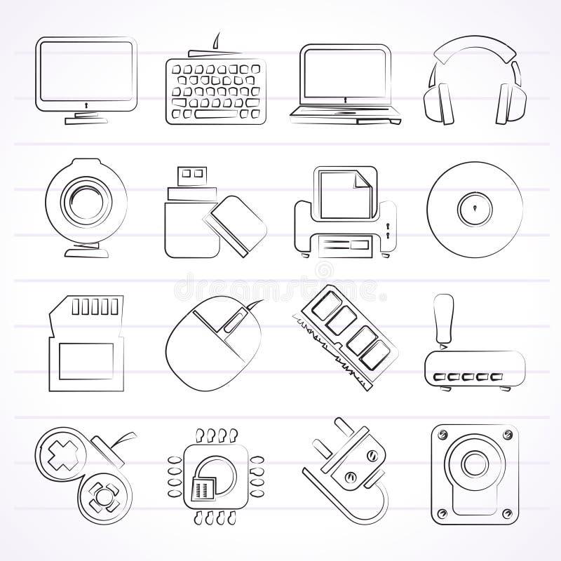 Symboler för datorkringutrustningar och tillbehör vektor illustrationer