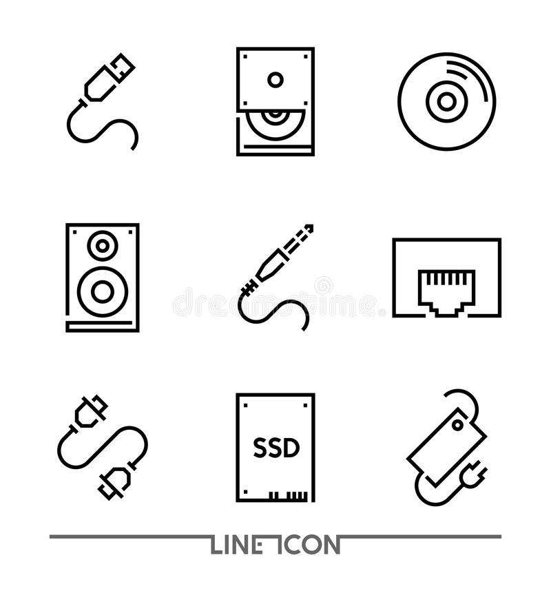 Symboler för datormaskinvara; PC som förbättrar den tunna linjen vektor vektor illustrationer