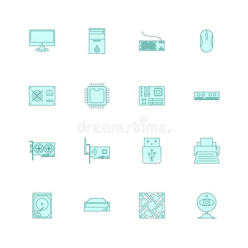 Symboler för datormaskinvara ställde in den fyllda översikten eller linjen stilvektorillustration stock illustrationer