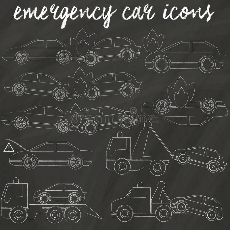 Symboler för den accedent bilen och släptruxk vektor illustrationer