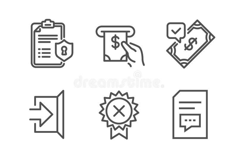 Symboler för den accepterade betalning, avskildhetspolitik och utskottsvaramedaljen ställde in Utgångs-, Atm-service och kommenta royaltyfri illustrationer