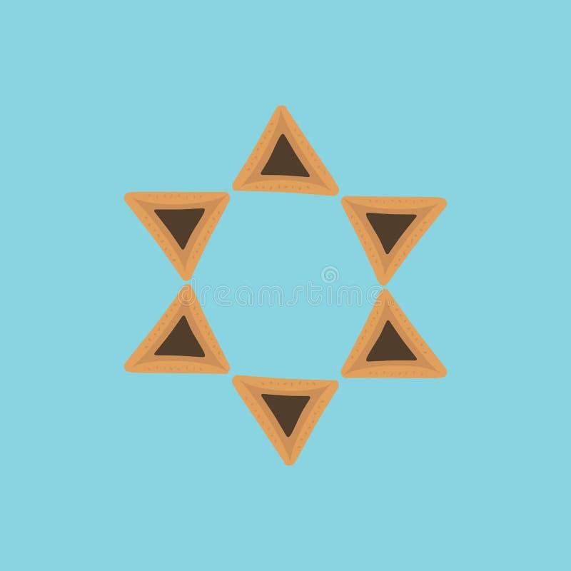 Symboler för design för Purim ferielägenhet av hamantashs i stjärna av david s stock illustrationer
