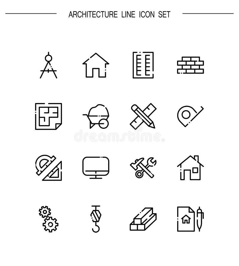 symboler för detaljerad hög symbol för arkitektur set stock illustrationer