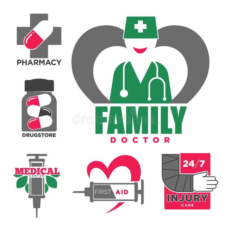Symboler för doktors- och apotekvektorläkarundersökning vektor illustrationer