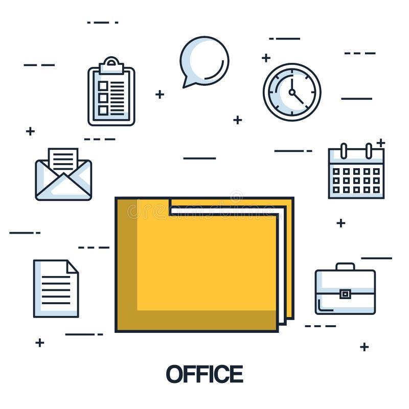 Symboler för dokument för organisation för arkiv för kontorsmappmapp royaltyfri illustrationer