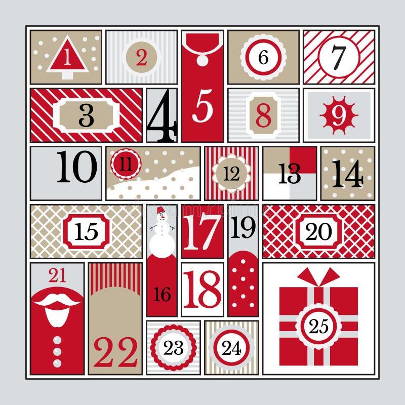 symboler för element för jul för adventkalendertecknad film time olikt vektor illustrationer