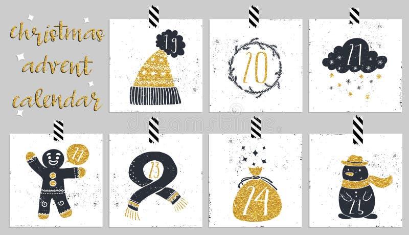 symboler för element för jul för adventkalendertecknad film time olikt Sex dagar av jul stock illustrationer