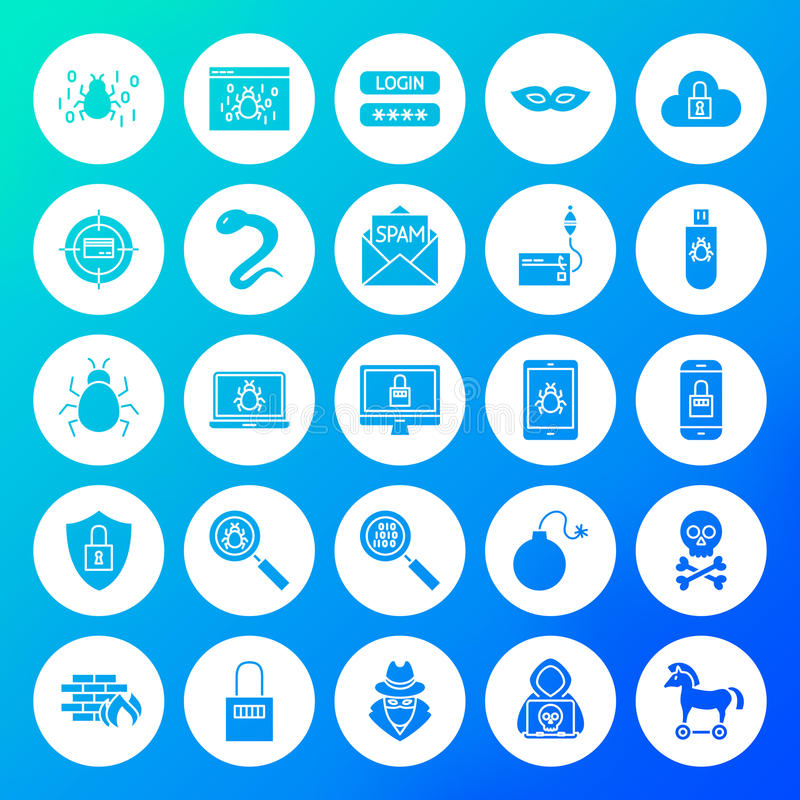 Symboler för en hackercirkelheltäckande vektor illustrationer