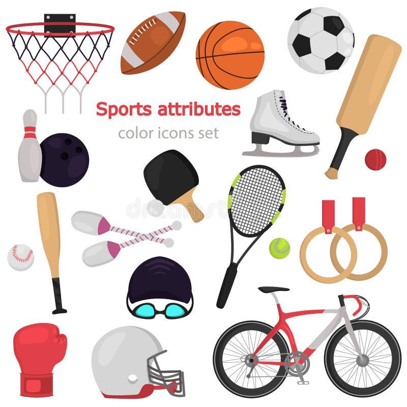 Symboler in för färg för sportutrustning ställde plana för rengöringsduk och mobil design royaltyfri illustrationer