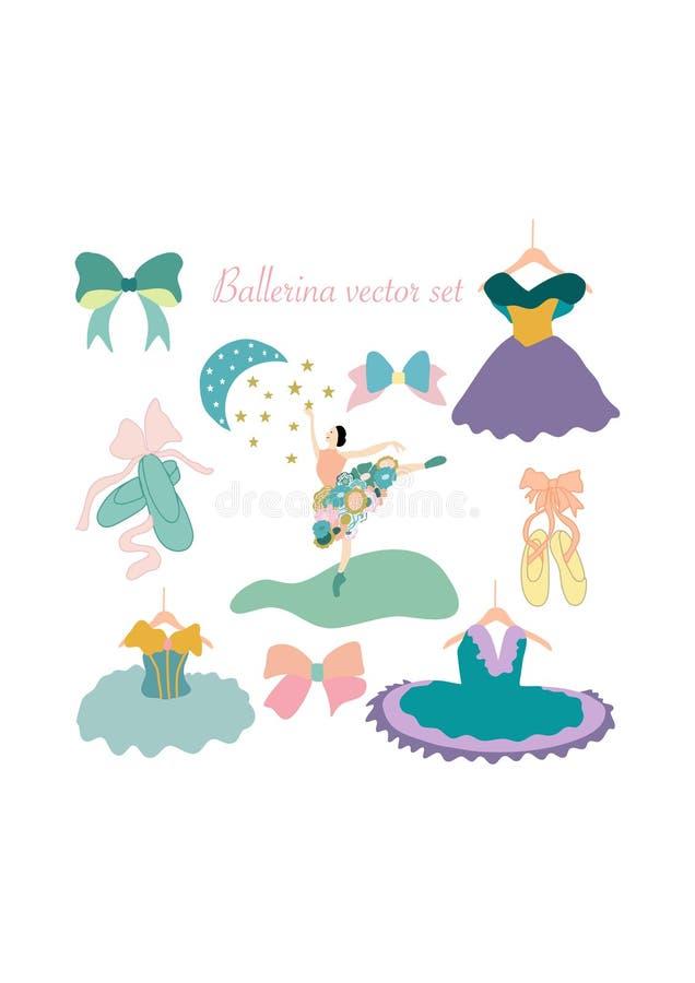 Symboler för färgrik vektor för ballerina fastställda stock illustrationer