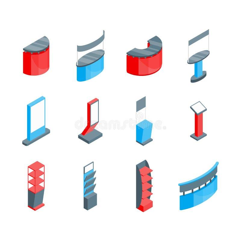 Symboler för färgutställningställningar 3d ställde in isometrisk sikt vektor stock illustrationer