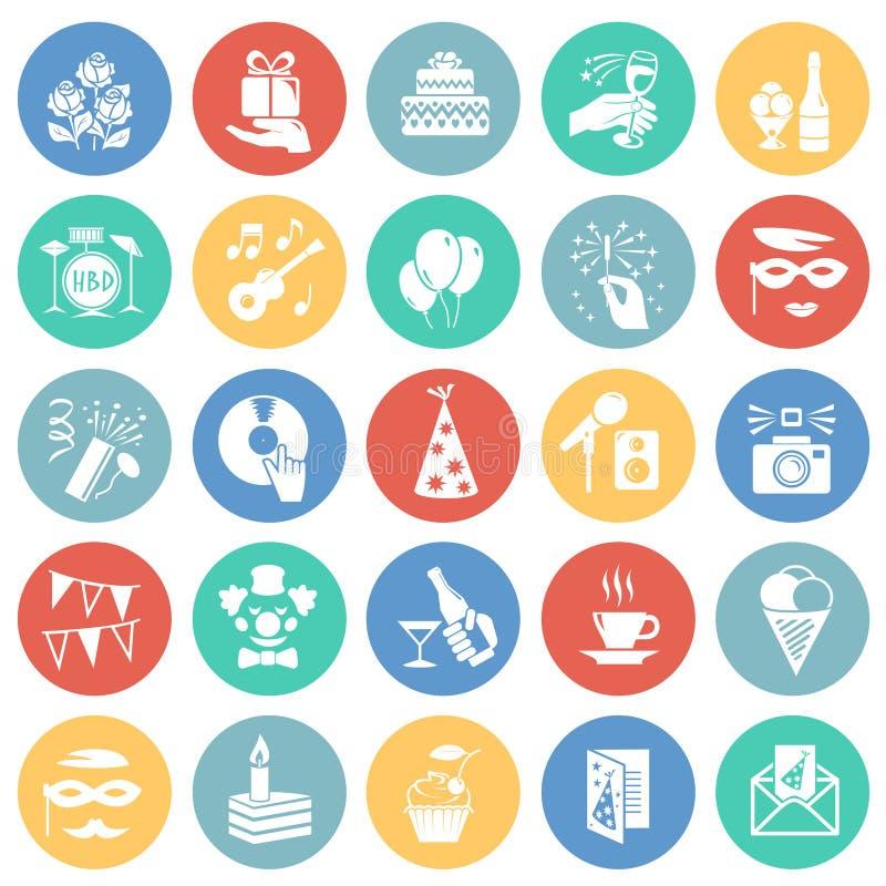 Symboler för födelsedagparti ställde in på bakgrund för färgcirklar för diagrammet och rengöringsdukdesignen, modernt enkelt vekt vektor illustrationer